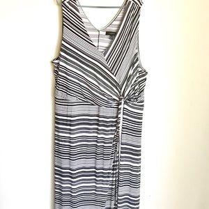Lane Bryant Plus Size Dress B and W Stripe Wrap